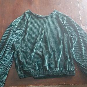 Forest green crushed velvet long sleeve shirt